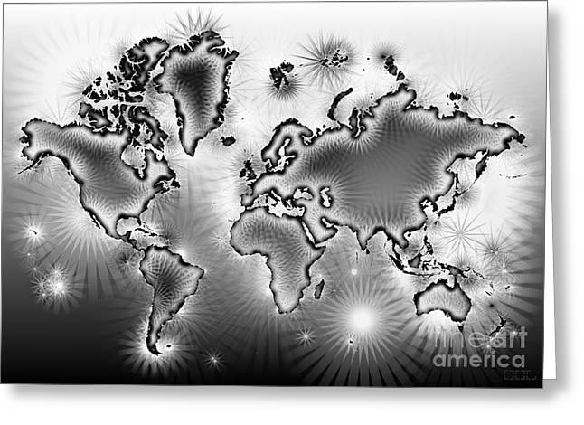 World Map Amuza In Black And White Greeting Card by Eleven Corners
