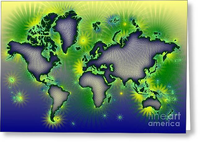 World Map Amuza In Blue Yellow And Green Greeting Card by Eleven Corners