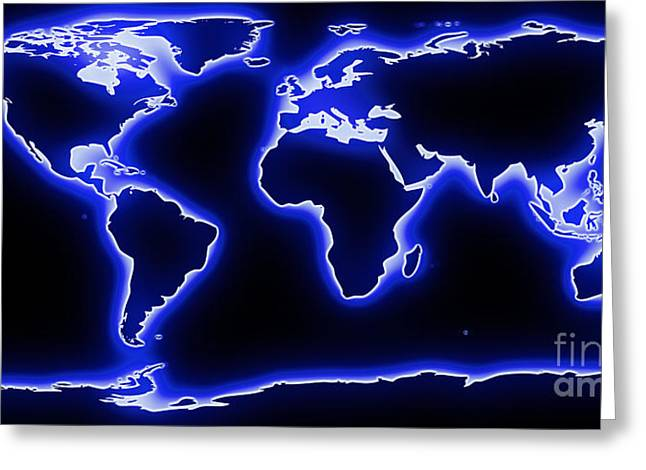 World Map Blue Glow Greeting Card by Pixel Chimp