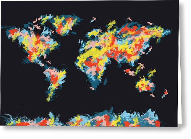 World Map Brush Strokes 2 Greeting Card by Bekim Art