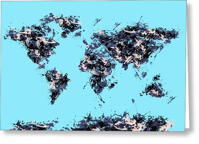 World Map Brush Strokes Greeting Card by Bekim Art