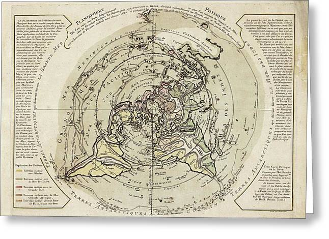 World Map Centred On North Pole Greeting Card by Library Of Congress, Geography And Map Division