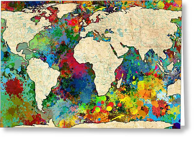 World Map Colorful Greeting Card by Gary Grayson