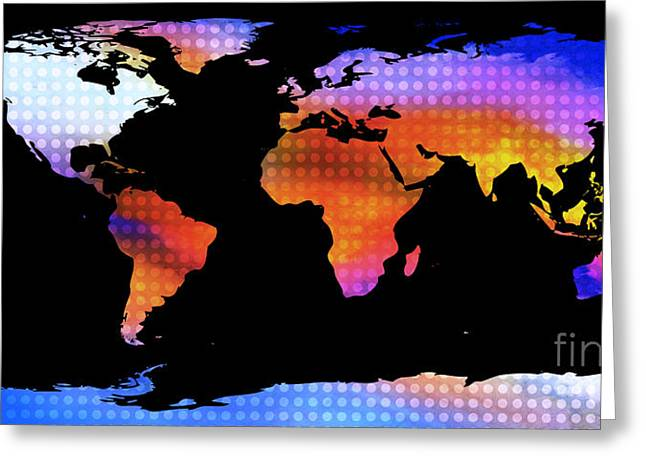 World Map Colourful Dots  Greeting Card by Pixel Chimp