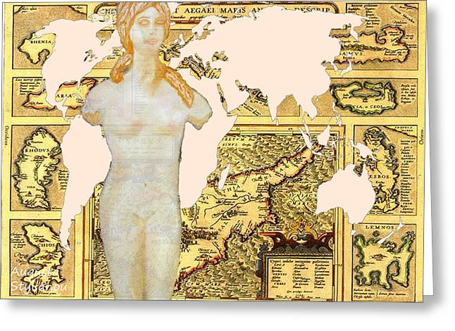 World Map Cyprus And Aphrodite Greeting Card