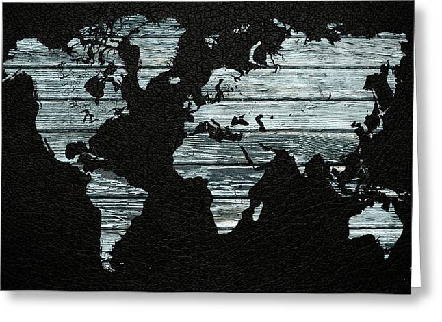 World Map Distressed Wood Beams On Leather Greeting Card