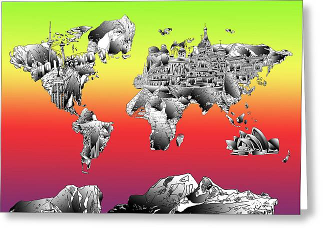 World Map Drawing Collage Greeting Card