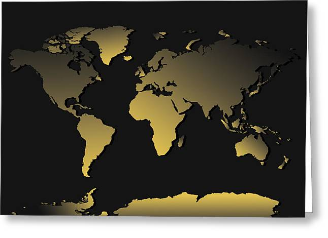 World Map Gradient Greeting Card by Bekim Art