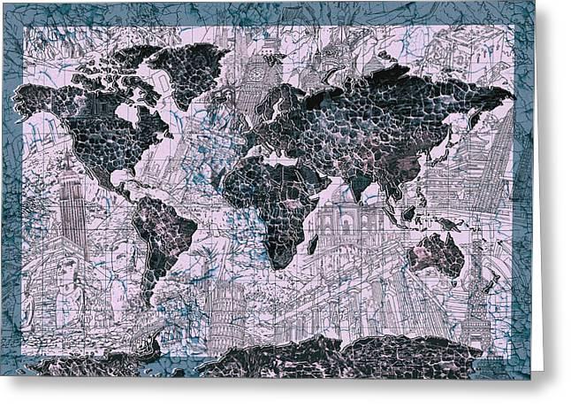 World Map Grunge 2 Greeting Card