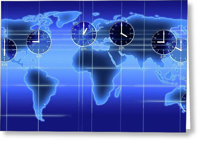 World Map Illustration With Time Zones Greeting Card by Alfred Pasieka