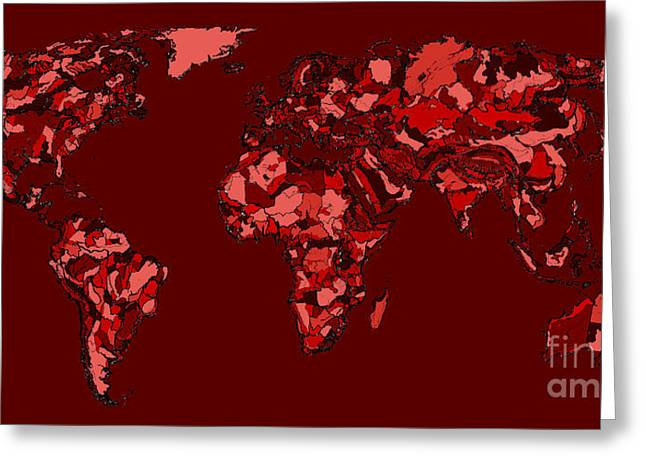 World Map In Dark Reds Greeting Card by Adendorff Design