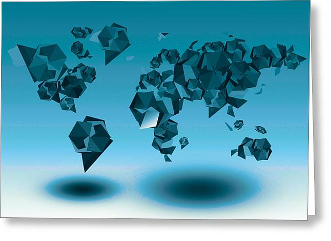 World Map In Geometic Blue  Greeting Card by Bekim Art