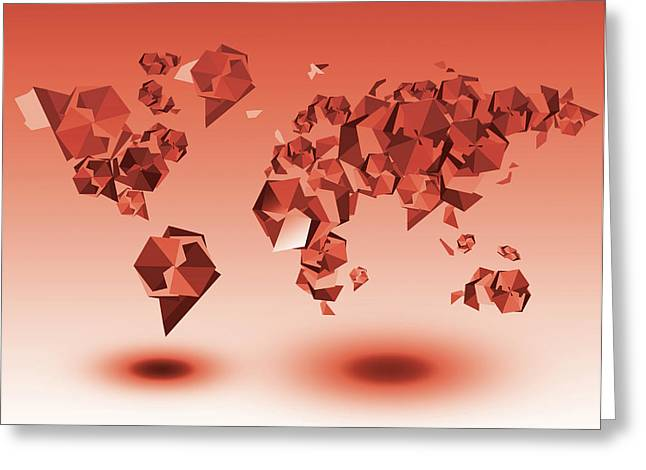 World Map In Geometic Red Greeting Card
