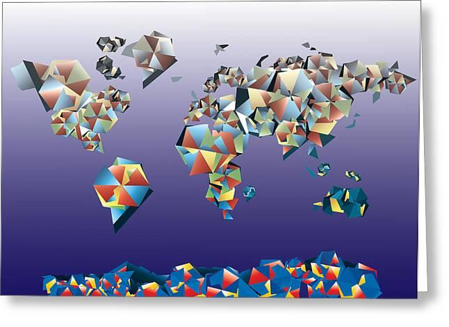 World Map In Geometric Fractal 2 Greeting Card by Bekim Art