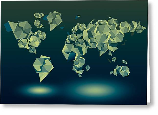 World Map In Geometric Green Greeting Card by Bekim Art