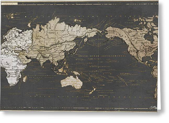 World Map In Gold And Gray Greeting Card by Elizabeth Medley