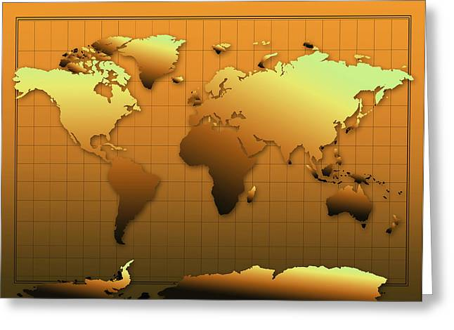 World Map In Gold Greeting Card