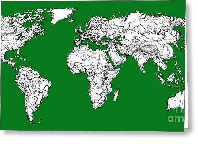 World Map In Green Greeting Card by Adendorff Design