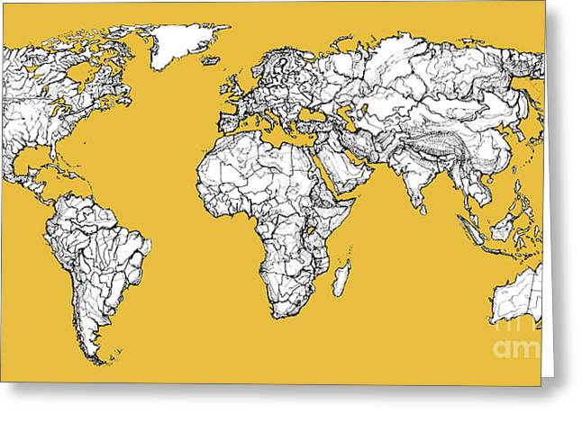 World Map In Mustard Greeting Card by Adendorff Design