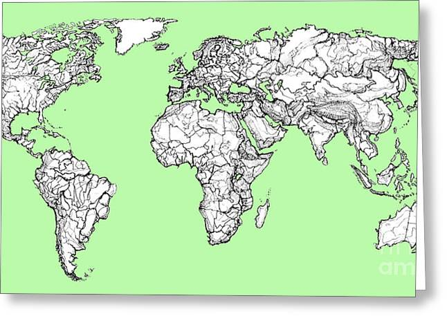 World Map In Pistachio Green Greeting Card by Adendorff Design