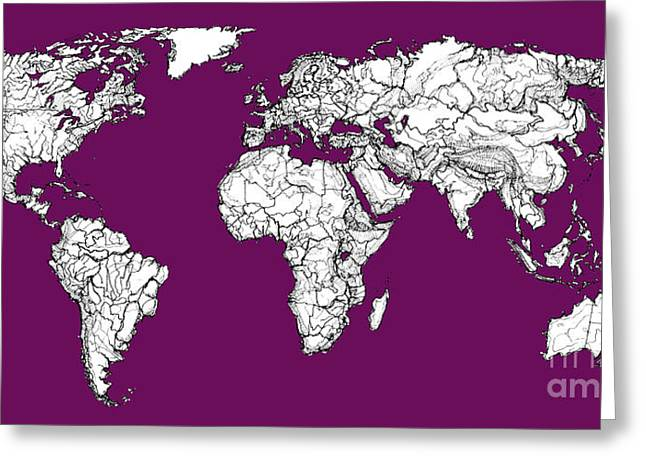 World Map In Purple Greeting Card by Adendorff Design