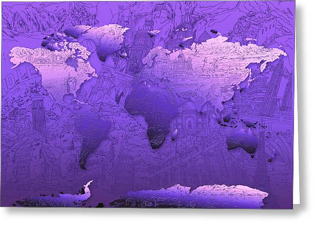 World Map In Purple Greeting Card by Bekim Art