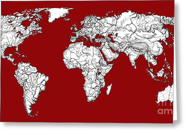 World Map In Red Greeting Card by Adendorff Design