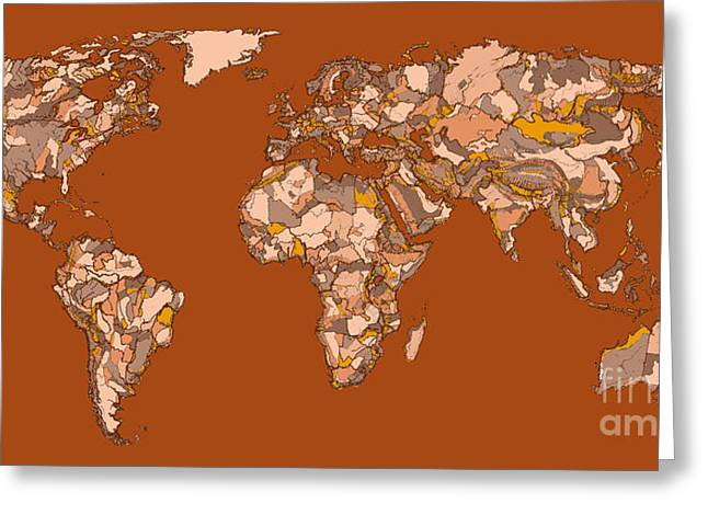 World Map In Sepia Greeting Card by Adendorff Design