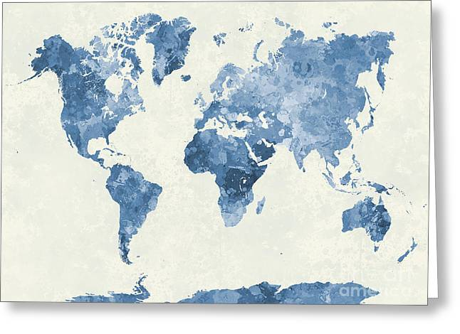 World Map In Watercolor Blue Greeting Card by Pablo Romero
