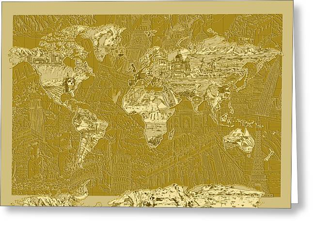 World Map Landmark Collage 10 Greeting Card