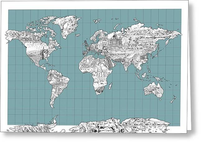 World Map Landmark Collage 3 Greeting Card
