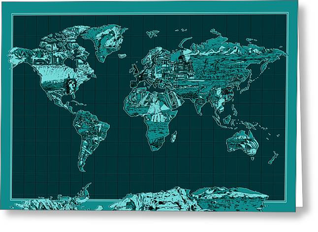 World Map Landmark Collage 4 Greeting Card