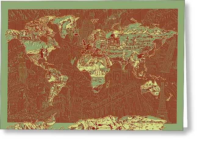 World Map Landmark Collage 7 Greeting Card