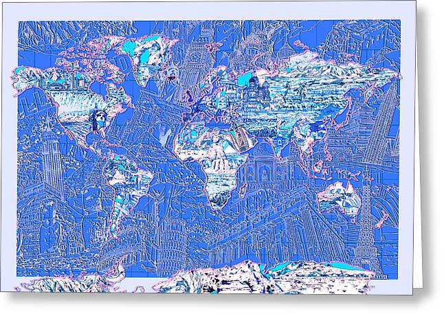 World Map Landmark Collage 8 Greeting Card