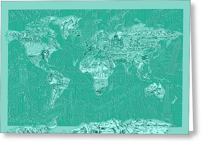 World Map Landmark Collage Green Greeting Card