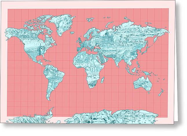 World Map Landmark Collage Greeting Card by Bekim Art