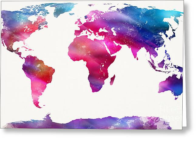 World Map Light  Greeting Card