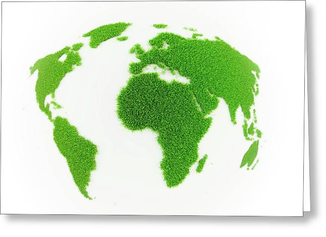 World Map Made Out Of Grass Greeting Card by Andrzej Wojcicki