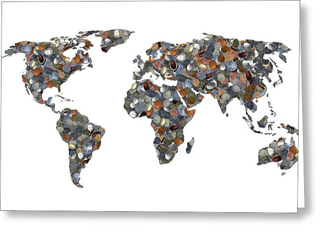 World Map Made Up Of Coins Greeting Card