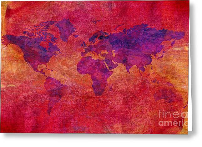 Greeting Card featuring the digital art World Map  by Mohamed Elkhamisy