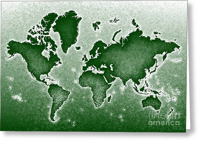 World Map Novo In Green Greeting Card by Eleven Corners