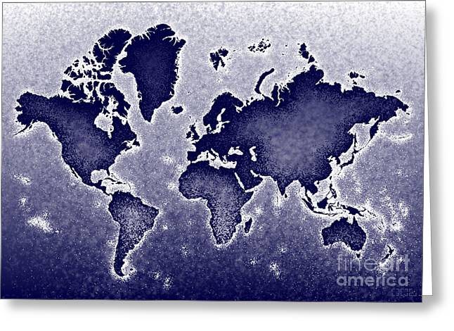 World Map Novo In Blue Greeting Card by Eleven Corners