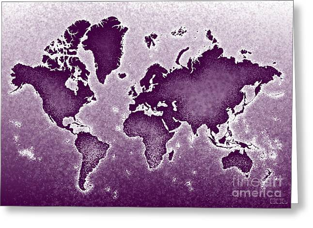 World Map Novo In Purple Greeting Card by Eleven Corners