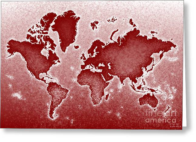 World Map Novo In Red Greeting Card by Eleven Corners
