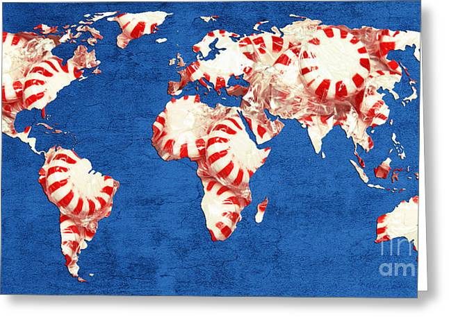 World Map Of Peppermints Greeting Card