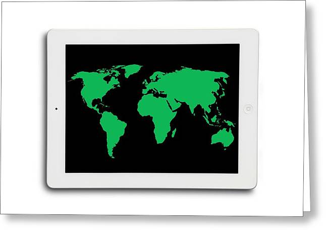 World Map On A Digital Tablet Greeting Card by Victor De Schwanberg