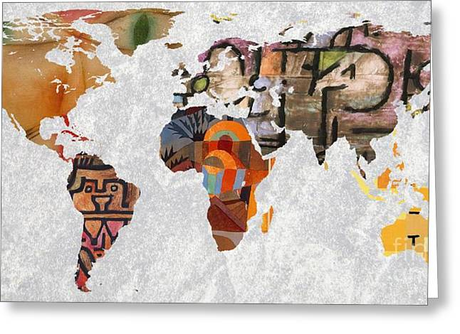 World Map   Paul Klee 3 Greeting Card by John Clark