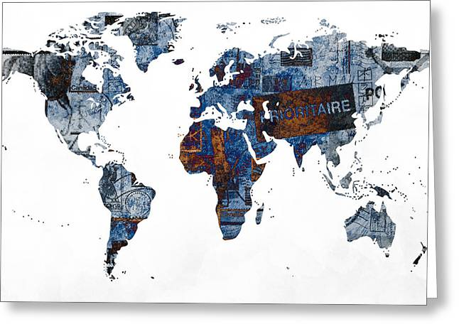World Map Post Stamps Grunge Blueprint Greeting Card by Eti Reid