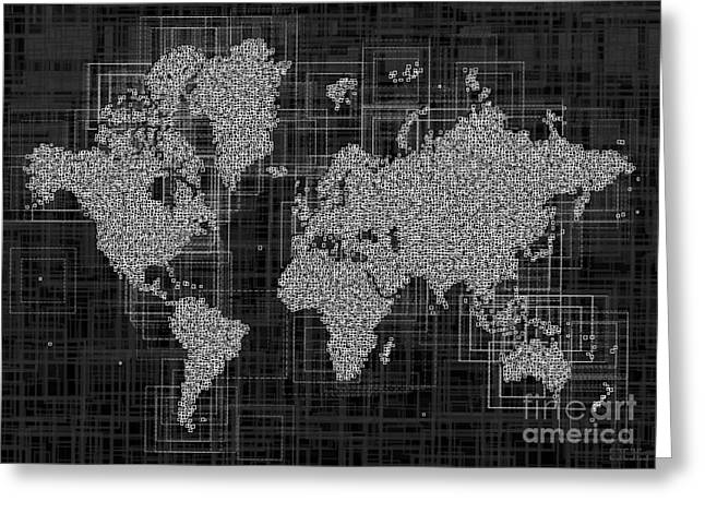 World Map Rettangoli In Black And White Greeting Card by Eleven Corners