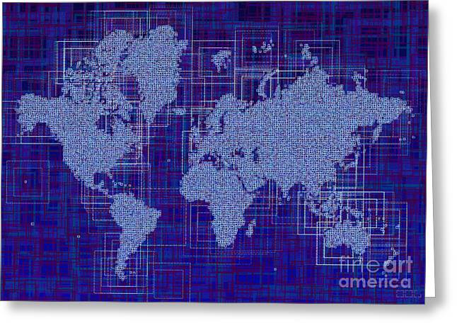 World Map Rettangoli In Blue And White Greeting Card by Eleven Corners